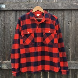 J. Crew red-orange & navy buffalo check flannel XL